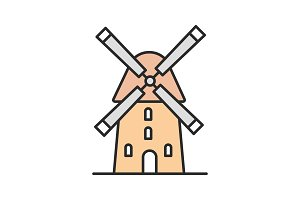 Windmill color icon