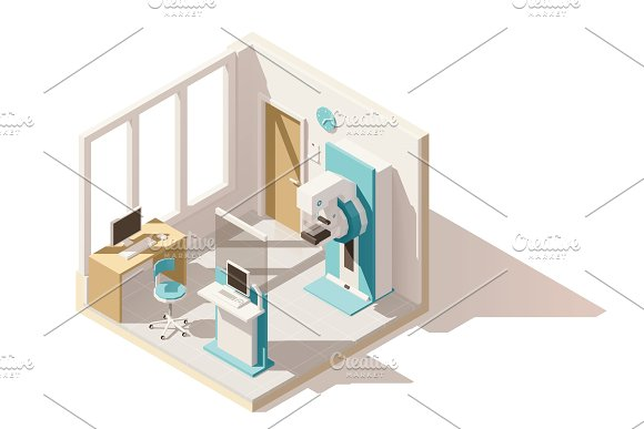 Vector isometric low poly mammography room