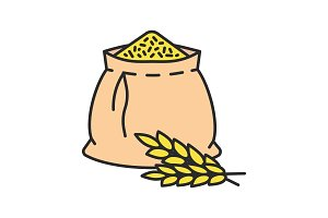 Wheat ears and flour bag color icon