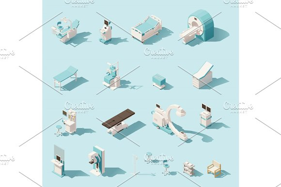 Vector isometric low poly medical equipment set in Illustrations