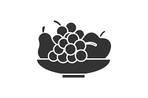 Bowl with fruit glyph icon