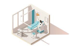 Vector isometric low poly ultrasound room