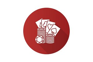 Casino chips with playing cards flat design long shadow glyph icon