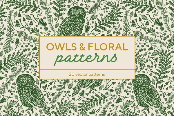 Owls & Floral patterns