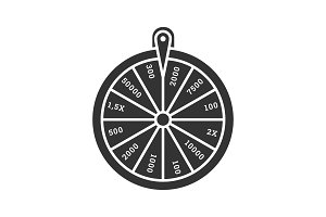 Wheel of fortune glyph icon