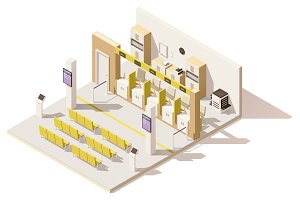 Vector isometric low poly visa application center