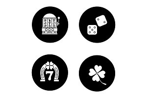 Casino glyph icons set