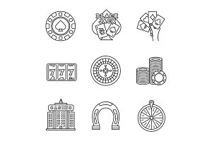 Casino linear icons set