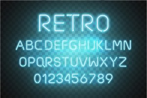 Light Neon Font Alphabet Vector . Glowing text effect. Neon tube blue letters isolated on transparent background. Vector illustration EPS 10 .