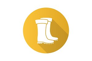 Rubber boot flat design long shadow glyph icon