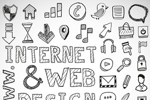 Hand-drawn web doodles
