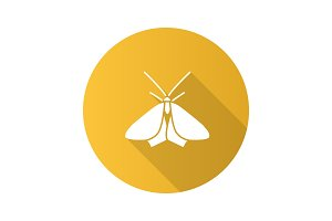 Moth flat design long shadow glyph icon