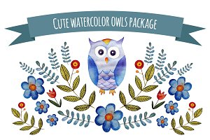 Cute watercolor owls pack
