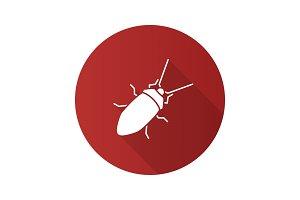 Cockroach flat design long shadow glyph icon