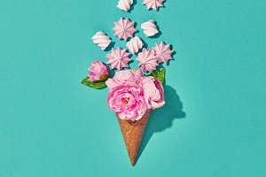 Ice Cream Cone with Candies, Flowers