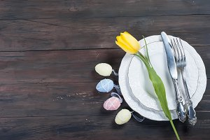 Place Setting for Easter on a wooden