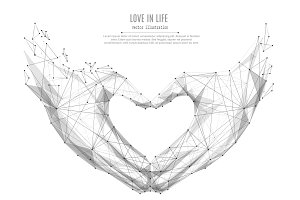 Love shape hands  Low Poly Black on White