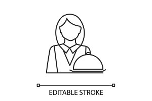 Waitress linear icon