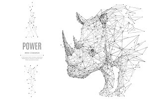 rhinoceros low poly black on white