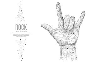 Hand in rock n roll sign low poly black on white