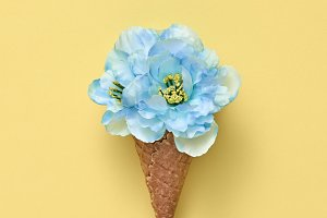 Ice Cream Cone with Bouquet of Flowe