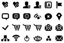 30 black web icons isolated on white