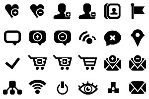 30 black web icons isolated on white