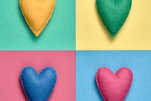 Colorful Hearts. Valentines Day,Love