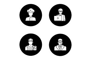 Professions glyph icons set