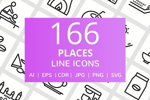 166 Places Line Icons