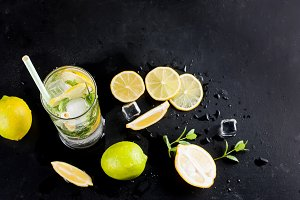 mojito cocktail wits lemons, limes a