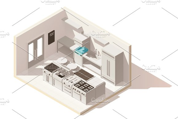 Vector isometric low poly professional kitchen