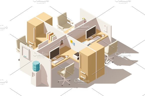 Vector isometric low poly office cubicle