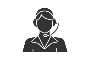 Call center operator glyph icon
