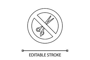Forbidden sign with scissors linear icon