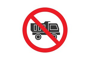 Forbidden sign with truck glyph icon