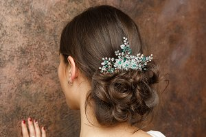 Photo from back of brunette with hairdo and diadem