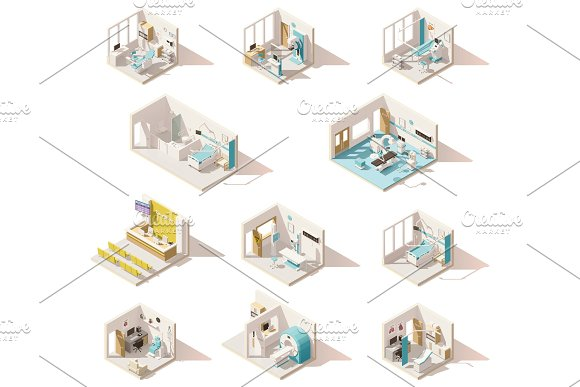 Vector isometric low poly hospital rooms in Illustrations