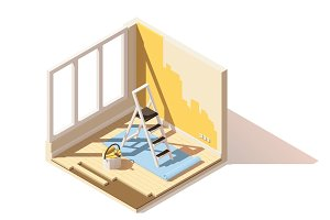 Vector isometric low poly home renovation icon