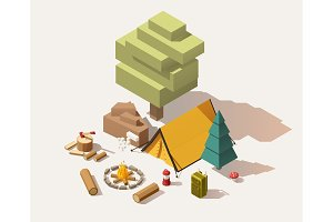 Vector isometric low poly campsite