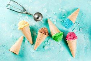 Set of various bright ice-cream