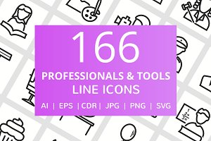 166 Professionals & Tools Line Icons