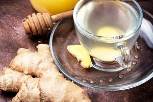 Healing tea from ginger root