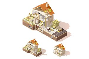 Vector isometric low poly house cross-section