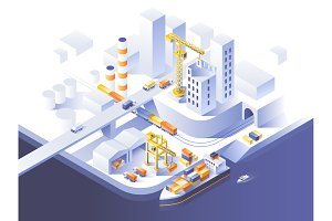 Industrial city - 3 illustrations