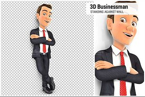 3D Businessman Standing Against Wall