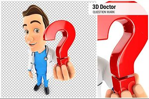 3D Doctor Holding a Question Mark