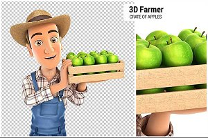 3D Farmer Holding Crate of Apples