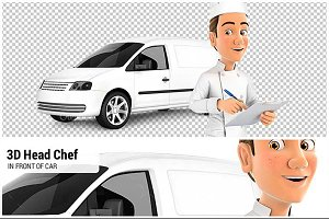 3D Head Chef in front of Car