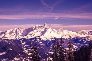 Winter alp mountains